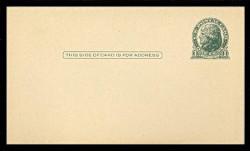 U.S. Scott # UX  27a, 1914 1c Thomas Jefferson, green on cream - Mint Face Postal Card (See Warranty)