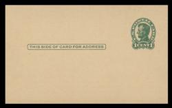 U.S. Scott # UX  28/UPSS # S40-2B, 1917 1c Abraham Lincoln, Head 2, green on buff - Mint Face Postal Card (See Warranty)