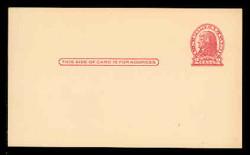 U.S. Scott # UX  29, 1917 2c Thomas Jefferson, red on cream, Die 1 - Mint Face Postal Card