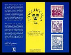 Brookman PS15/Scott SC38 1974 Stockholmia '74 Souvenir Card