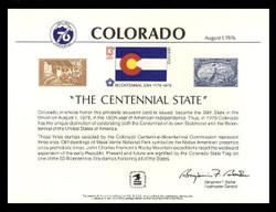Brookman PS21/Scott SC50 1976 Colorado Centennial Souvenir Card