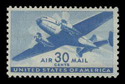 U.S. Scott # C  30, 1941 30c Twin Motored Transport Plane, blue