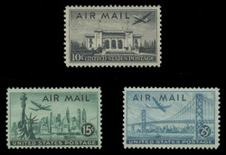 U.S. Scott # C  34 - 6, 1947 Airmail Commemoratives (Set of 3)