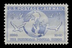 U.S. Scott # C  43, 1949 15c Globe and Doves