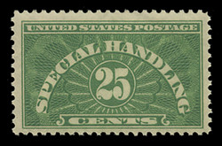 U.S. Scott # QE 4a, 1928 25c Special Handling, Yellow Green - Wet Printing