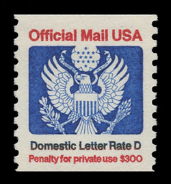 """U.S. Scott # O 139, 1985 (22c) """"Domestic Letter Rate D"""" Official Mail Eagle Coil"""