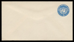 U.N.N.Y. Scott # U  1 S, 1953 3c U.N. Emblem, light blue - Mint Envelope, Small Size