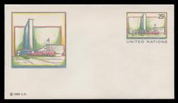 U.N.N.Y. Scott # U  8 S, 1989 25c UNNY Headquarters - Mint Envelope, Small Size