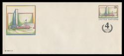 U.N.N.Y. Scott # U  9 L, 1991 25c +4c UNNY Headquarters - Mint Envelope, Large  Size