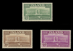 ICELAND Scott #  209-11, 1938 University of Iceland, 20th Anniversary (Set of 3)