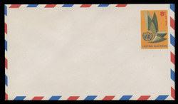 U.N.N.Y. Scott # UC  6 S, 1963 8c U.N. Emblem - Mint Envelope, Small Size