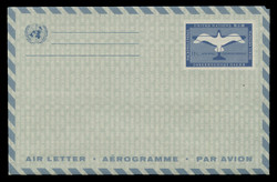 U.N.N.Y. Scott # UC  5, 1961 11c Plane & Gull, blue paper - Mint Air Letter Sheet, Folded