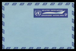 U.N.N.Y. Scott # UC  7, 1968 13c U.N. Emblem & Stylized Plane - Mint Air Letter Sheet, Folded