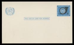 U.N.N.Y Scott # UX  4, 1969 5c U.N. Emblem & Post Horn - Mint Postal Card