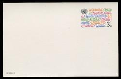 U.N.N.Y Scott # UX  8, 1982 13c United Nations in Script - Mint Postal Card
