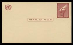 U.N.N.Y. Scott # UXC  1, 1957 4c Airplane Wing & Globe - Mint Postal Card