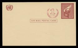 U.N.N.Y. Scott # UXC  2, 1959 4c +2c Airplane Wing & Globe - Mint Postal Card