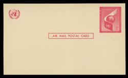 U.N.N.Y. Scott # UXC  3, 1959 5c Airplane Wing & Globe - Mint Postal Card