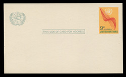 U.N.N.Y. Scott # UXC  8, 1972 9c U.N. Emblem & Stylized Wings - Mint Postal Card