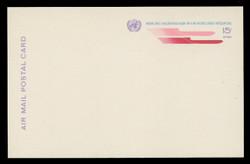U.N.N.Y. Scott # UXC  9, 1972 15c U.N. Emblem & Stylized Planes - Mint Postal Card
