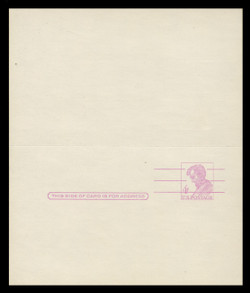 """U.S. Scott # UY 18a, 1967 4c Abraham Lincoln, Precancelled, """"Tagged"""" with Luminescent Ink - Mint Message-Reply Card - UNFOLDED"""