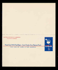 U.S. Scott # UY 20, 1967 8c Map of the United States - Mint International Message-Reply Card - UNFOLDED