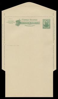 U.S. Scott # U 293, 1886 2c Grant, green on creamy white - Letter Sheet, UNFOLDED (See Warranty)