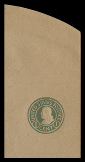 U.S. Scott # U 425a, 1915-32 1c Franklin, green on manila, Die 3 - Mint Full Corner
