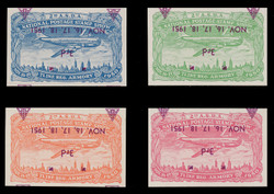 ASDA 1951MAGi-INVT (3rd) Stamp Show, Plane Over New York,  Magenta Overprint, INVERTED OVERPRINT, Imperforate (Set of 4)