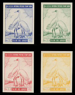 ASDA 1957i (9th) Stamp Show, Whooping Cranes,  Imperforate (Set of 4)