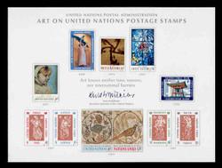 U.N. Souvenir Card #  2 - Art on United Nations Stamps