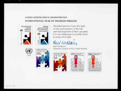 U.N. Souvenir Card # 19 - International Year of Disabled Persons