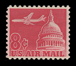 U.S. Scott # C  64a, 1964 8c Jet Airliner over Capitol, carmine - Tagged