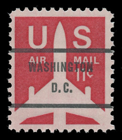 "U.S. Scott # C  78b, 1971 11c Jet Airliner Silhouette, Congressional Precancel, Periods in ""D.C."""