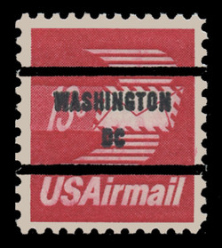 U.S. Scott # C  79b, 1973 13c Winged Airmail Envelope, Congressional Precancel