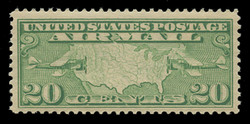 U.S. Scott # C   9, 1926-7 20c Map of U.S. & Planes, yellow green