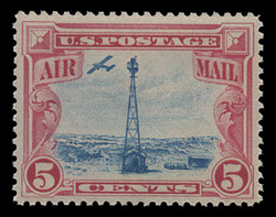U.S. Scott # C  11, 1928 5c Beacon on Rocky Mountains, carmine & blue