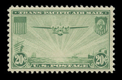 "U.S. Scott # C  21, 1937 25c ""China Clipper"" over Pacific, green"