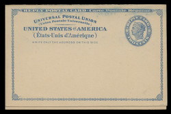 U.S. Scott # UY  2, 1893 2c Liberty Head (Blue) - Mint International Message-Reply Card - FOLDED