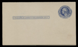 U.S. Scott # UY  5, 1910 1c Washington (Blue) - Mint Message-Reply Card - FOLDED