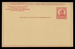 U.S. Scott # UY 12-Red/Carmine on Canary, 1926 3c McKinley - Mint Message-Reply Card - FOLDED