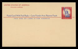 U.S. Scott # UY 16, 1956 4c Statue of Liberty - Mint International Message-Reply Card - FOLDED