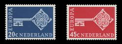 NETHERLANDS Scott # 452-3, 1968 Europa - Golden Key with CEPT Emblem (Set of 2)