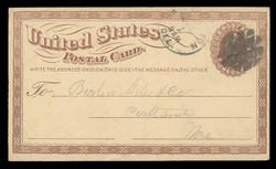 U.S. Scott # UX   1/UPSS # S1 1873 1c Liberty Head, brown on buff with Large Watermark - Used Postal Card