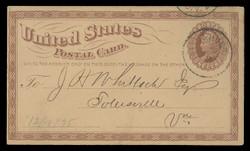 U.S. Scott # UX   3, 1873 1c Liberty Head, brown on buff with Small Watermark - Used Postal Card