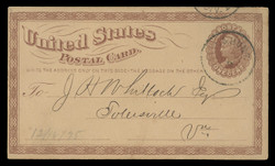 U.S. Scott # UX   3/UPSS # S2e, 1873 1c Liberty Head, brown on buff with Small INVERTED & REVERSED Watermark - Used Postal Card