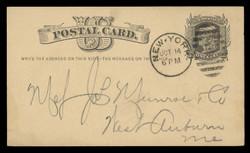 "U.S. Scott # UX   5, 1875 1c Liberty Head, black on buff - ""Write the Address""  NO Watermark - Used Postal Card"