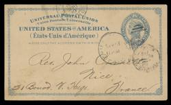 U.S. Scott # UX   6, 1879 2c Liberty Head, blue on buff with border & Small Margin - Used Postal Card