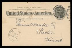 U.S. Scott # UX  12/UPSS # S14, 1894 1c Thomas Jefferson, black on buff, Flat Press - Used Postal Card (See Warranty)