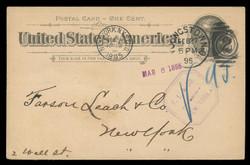 U.S. Scott # UX  12/UPSS # S15, 1894 1c Thomas Jefferson, black on buff, Rotary Press - Used Postal Card (See Warranty)